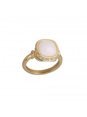Marelle à Marbella, bague, or jaune, opale rose, taille cabochon coussin, diamants blancs