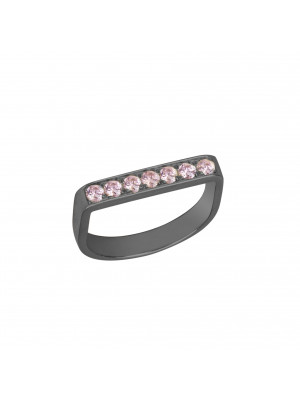 Baby Candy bague étrier argent massif rhodié noir, pierres Swarovski roses