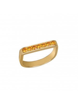 Baby Candy, bague étrier, argent massif plaqué or jaune, pierres Swarovski orange,