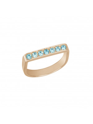 "Baby Candy, bague étrier, or rose, topazes bleues, ""ice blue"","