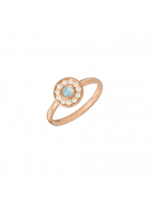 Marelle à Marbella, bague, or rose, Aigue-Marine Milky, taille cabochon, diamants blancs