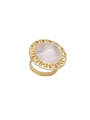 """Ma cousine Tonkinoise"", bague, Quartz Rose, conique, or jaune,"