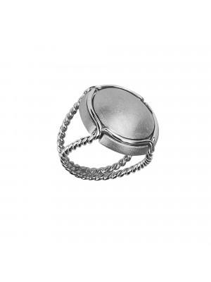 Champ bague chevalière capsule satinée, anneau torsadé, argent massif rhodié blanc