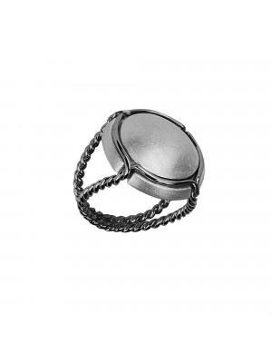 Champ bague chevalière capsule satinée, anneau torsadé, argent massif rhodié blanc et noir