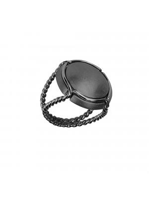 Champ !, bague chevalière, capsule satinée, argent rhodié noir, anneau torsadé, argent rhodié noir