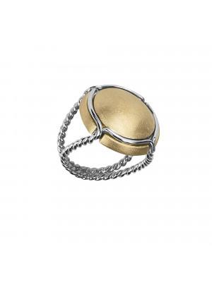 Champ bague chevalière capsule satinée, anneau torsadé argent, argent massif plaqué or jaune et rhodié blanc