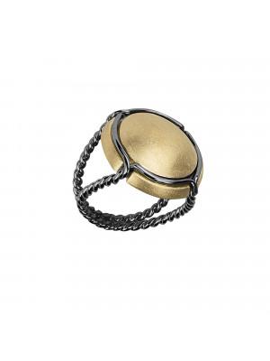 Champ !, bague chevalière, capsule satinée argent plaqué or jaune, anneau torsadé, argent rhodié noir,