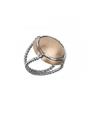 Champ !, bague chevalière, capsule satinée or rose, anneau torsadé, or blanc, 18 kt,