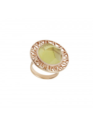 """Ma cousine Tonkinoise"", bague, Citrine Lemon, conique, or rose,"