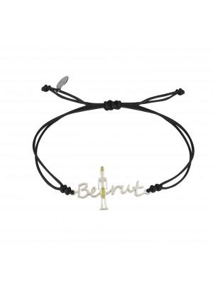 Globe-Trotter, bracelet Beirut, (Beyrouth), argent massif, rhodié blanc, cordon nylon,