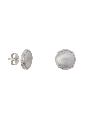 Champ!, boucles d'oreille puces, mini-capsules, or blanc satiné, muselet or blanc, 18 kt,