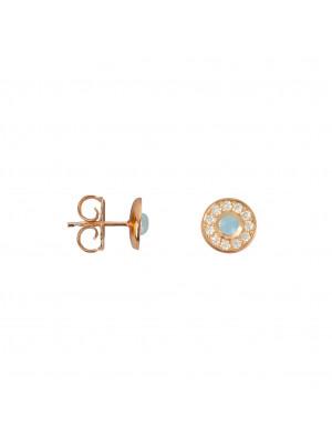 Marelle à Marbella, boucles d'oreille puces, petit cabochon Aigue-Marine Milky, diamants blancs, or rose
