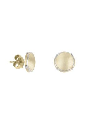 Champ!,  boucles d'oreilles puces, mini capsules satinées, argent massif plaqué or jaune, muselet argent massif rhodié blanc,