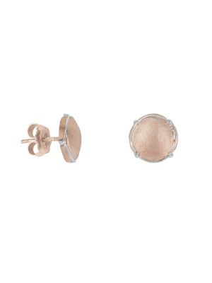 Champ !, boucles d'oreilles puces, mini capsules satinées, argent massif plaqué or rose, muselet argent massif rhodié blanc,