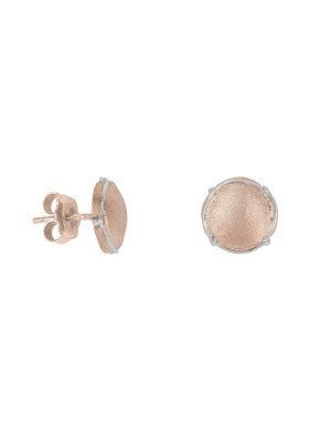 Champ!, boucles d'oreille puces, mini capsules, or rose satiné, muselet or blanc, 18 kt,