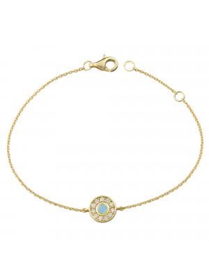 Marelle à Marbella, bracelet chaîne, petit cabochon Aigue-Marine Milky, diamants blancs, or jaune
