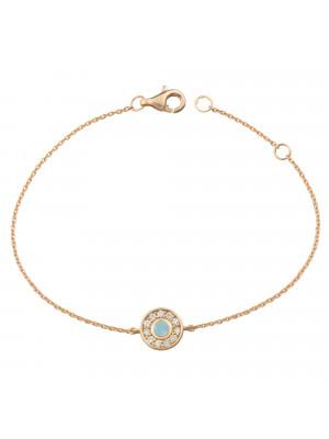 Marelle à Marbella, bracelet chaîne, petit cabochon Aigue-Marine Milky, diamants blancs, or rose