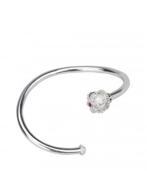 Princesse Tipois bracelet jonc, couronne, or blanc, perle d'eau douce, rhodolites roses