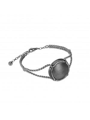 Champ bracelet manchette torsadée capsule satinée, argent massif rhodié noir et blanc (Taille M)