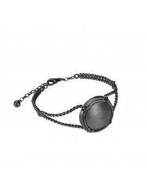 Champ !, bracelet, manchette torsadée, argent massif rhodié noir, capsule satinée, argent massif rhodié noir, (Taille M)