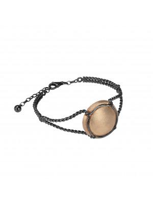 Champ bracelet manchette torsadée capsule satinée, argent massif plaqué or rose et rhodié noir (Taille M)