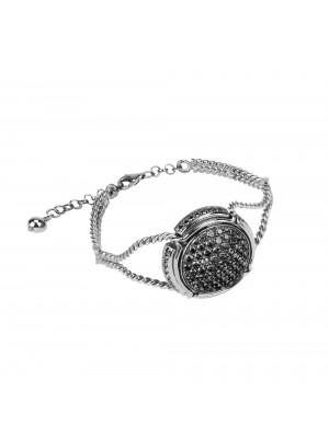 Champ !, Bracelet, manchette torsadée, or blanc, capsule, pavage diamants noirs,