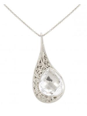 La larme du Crocodile' collier chaîne, pendentif filigrane argent massif rhodié blanc, cristal de roche facetté taille poire