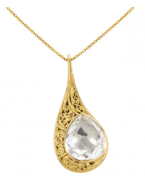 La larme du Crocodile' collier chaîne, pendentif  filigrane argent massif plaqué or jaune, cristal de roche facetté taille poire