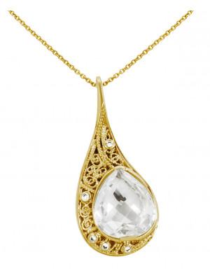 La larme du Crocodile' collier chaîne, pendentif filigrane or jaune, cristal de roche facetté taille poire, diamants blancs