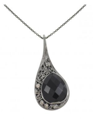 La larme du Crocodile' collier chaîne, pendentif filigrane or noir, onyx facetté taille poire, diamants champagne