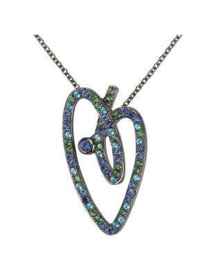 Joli Cœur collier, chaîne ras-de-cou, pendentif cœur, or noir, pavage topazes bleues, topazes vertes, saphirs bleus,