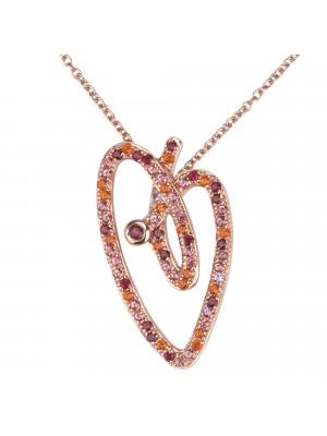 Joli Cœur collier, chaîne ras-de-cou, pendentif cœur, or rose, pavage topazes roses, topazes rouges, topazes orange,
