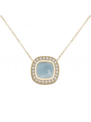 Marelle à Marbella, collier chaîne, pendentif aigue-marine bleue milky, taille cabochon coussin, diamants blancs, or jaune