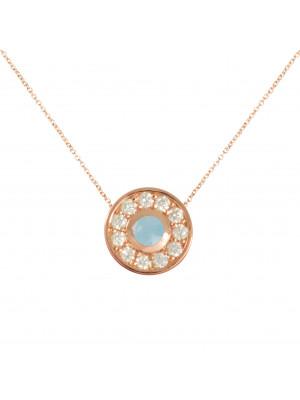 Marelle à Marbella, collier chaîne, pendentif petit cabochon Aigue-Marine Milky, diamants blancs, or rose