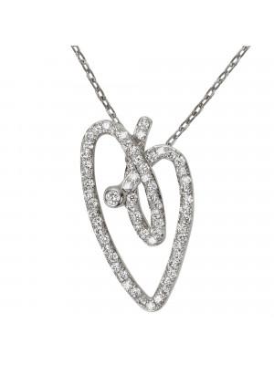 Joli Cœur collier, chaîne ras-de-cou, pendentif cœur, or blanc, pavage diamants blancs,