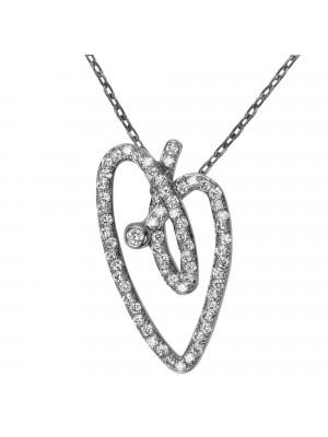 Joli Cœur collier, chaîne ras-de-cou, pendentif cœur, or noir, pavage diamants blancs,
