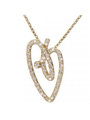 Joli Cœur collier, chaîne ras-de-cou, pendentif cœur, or jaune, pavage diamants blancs,