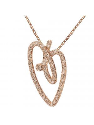 Joli Cœur collier, chaîne ras-de-cou, pendentif cœur, or rose, pavage diamants Champagne,