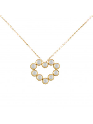 Marelle à Marbella, collier chaîne, pendentif coeur, Pierres de Lune, taille cabochon, or jaune