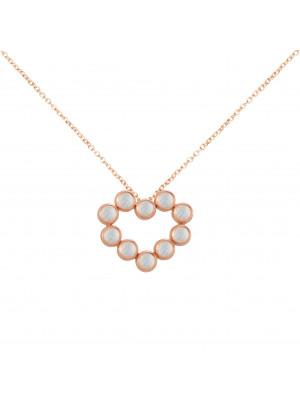 Marelle à Marbella, collier chaîne, pendentif coeur, Pierres de Lune, taille cabochon, or rose
