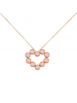 Marelle à Marbella, collier chaîne, pendentif coeur, Opales roses, taille cabochon, or rose