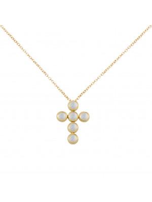 Marelle à Marbella, collier chaîne, pendentif croix, Pierres de Lunes, taille cabochon, or jaune