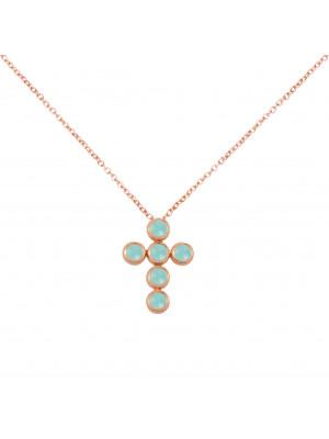 Marelle à Marbella, collier chaîne, pendentif croix, Aigues-Marines bleues Milky, taille cabochon, or rose