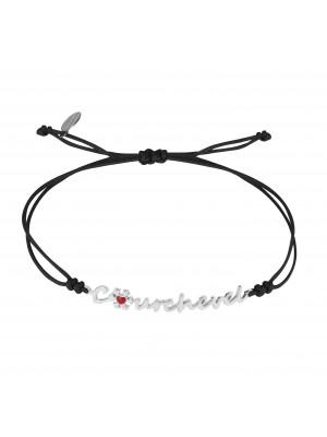 Globe-Trotter, bracelet Courchevel, argent massif, rhodié blanc, cordon nylon,