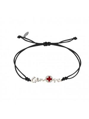 Globe-Trotter, bracelet  Geneva (Genève), argent massif, rhodié blanc, cordon nylon,