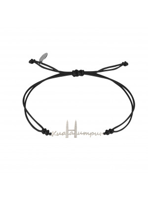 Globe-Trotter, bracelet Kuala-Lumpur, argent massif, rhodié blanc, cordon nylon,