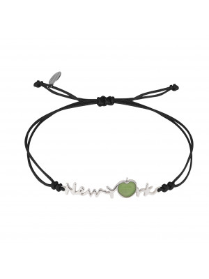 Globe-Trotter, bracelet New-York, argent massif, rhodié blanc, cordon nylon,