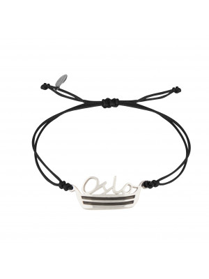 Globe-Trotter, bracelet Oslo, argent massif, rhodié blanc, cordon nylon,