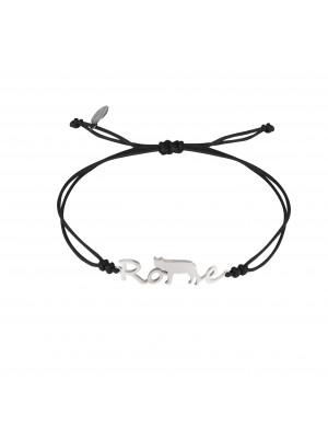 Globe-Trotter, bracelet Rome, argent massif, rhodié blanc, cordon nylon,
