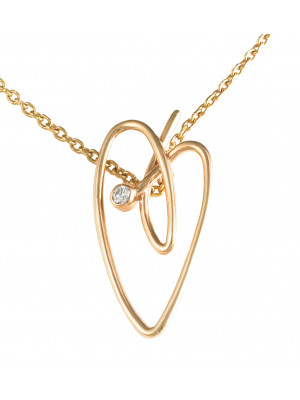 Joli Cœur collier, chaîne ras-de-cou, pendentif cœur, or rose, diamant blanc,